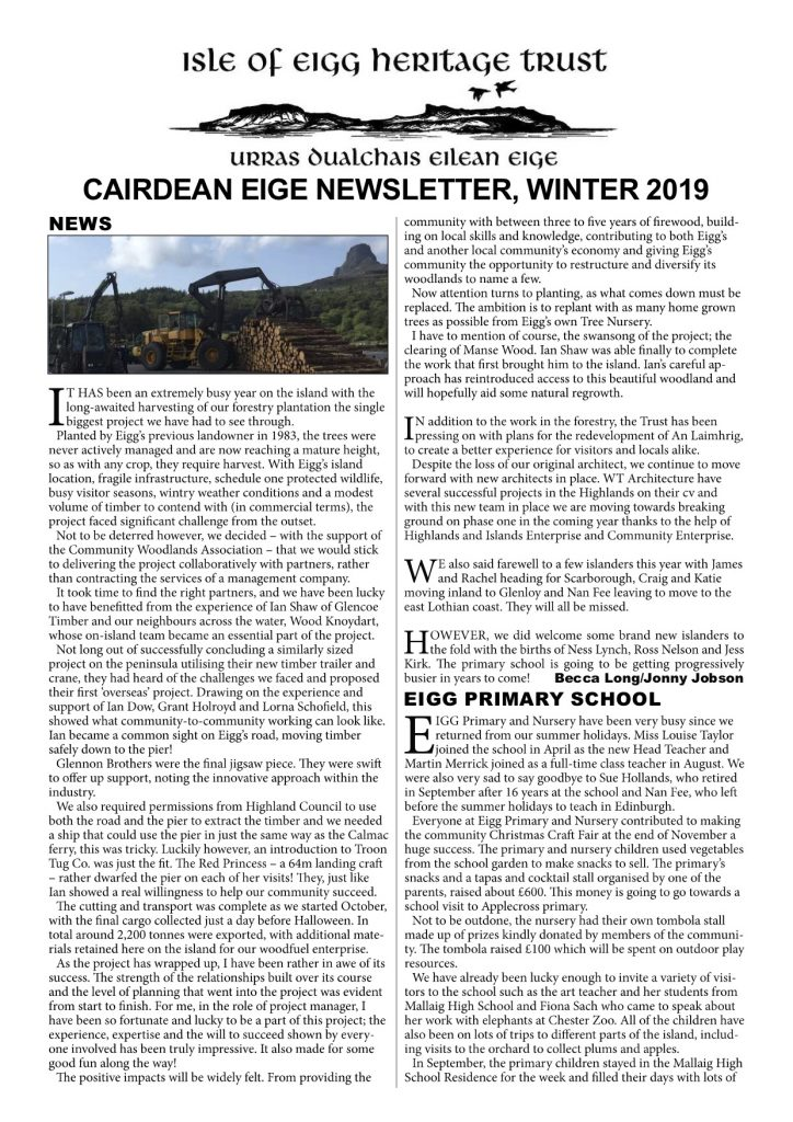 Eigg Newsletter – Winter 2019